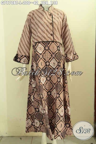 Sedia Batik Gamis Online, Busana Batik Syar'i Wanita Muslimah Krah Shanghai Kancing Samping Nan Modis [G7970BT-L]