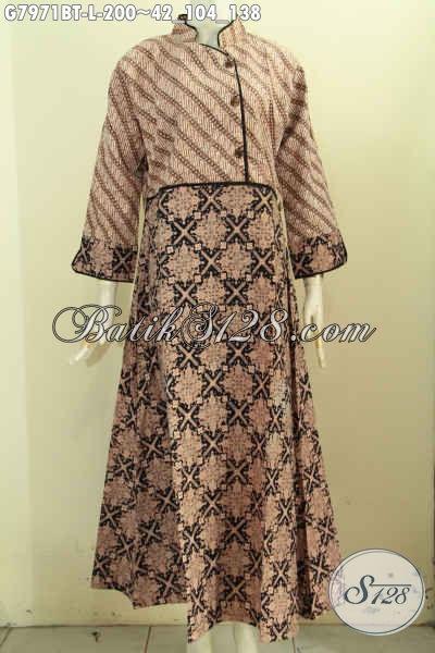Gamis Batik Plisir Polos Dengan Resleting Belakang, Pakaian Batik Wanita Muslim Bahan Adem Motif Klasik Kombinasi Tulis, Di Jual Online 200K [G7971BT-L]