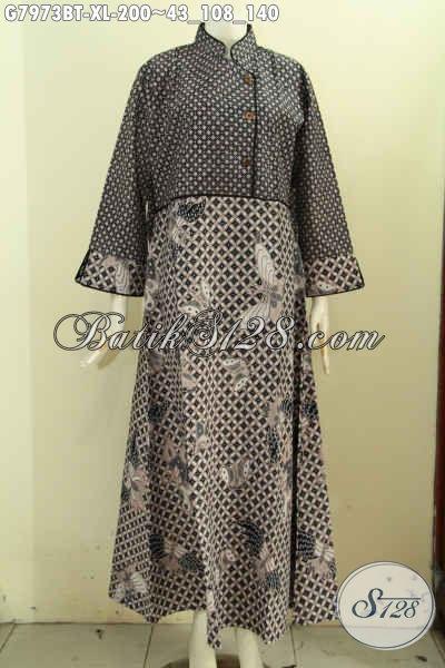 Gamis Batik Wanita Dewasa, Produk Busana Batik Solo Elegan Plisir Polos Berkelas Bahan Adem Dual Motif Proses Kombinasi Tulis Harga Terjangkau [G7973BT-XL]