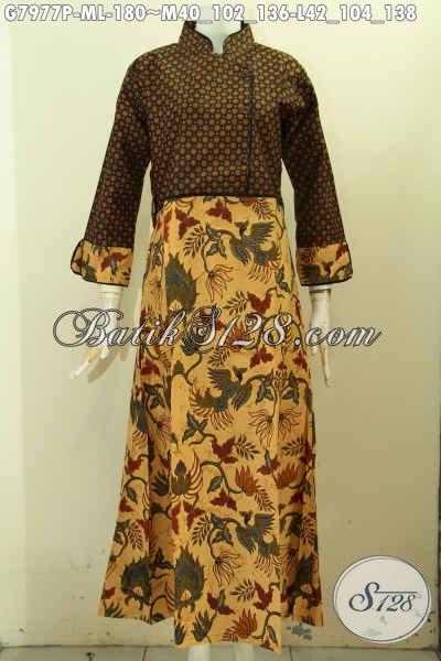 Koleksi Terbaru Gamis Batik Elegan Dua Motif, Abaya Batik Berkelas Proses Printing Desain Kekinian Untuk Tampil Cantik Menawan [G7977P-M , L]
