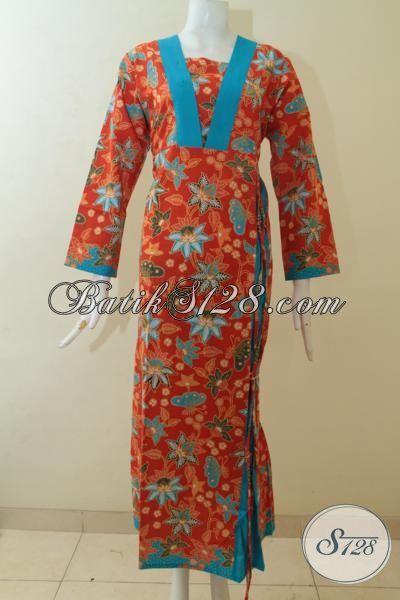 Busana Batik Wanita Hijabers, Batik Gamis Keren Dan Modern Dengan Motif Bunga-Bunga Yang Menawan, Abaya Batik Print Halus Warna Merah [G3116P-L , XL]