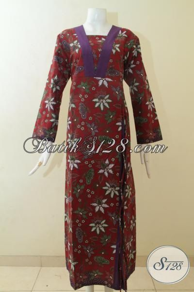 Model gamis batik simple sederhana
