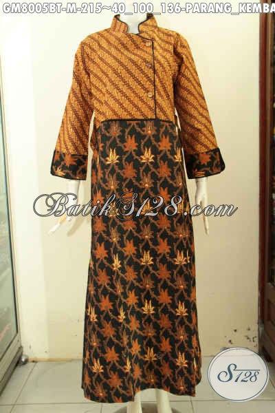Sedia Abaya Batik Krah Shanghai, Busana Batik Wanita Berhijab Desain Kancing Samping Dan Resleting Belakang, Size M