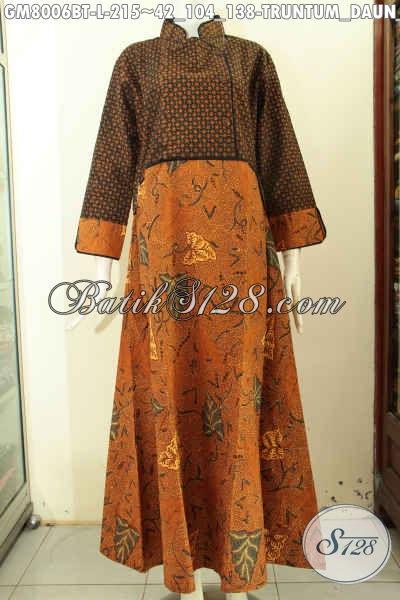 Baju Batik Gamis Motif Klasik TruntumDaun Talas, Baju Batik Istimewa Buat Wanita Muslimah Tampil Mempesona, Size L