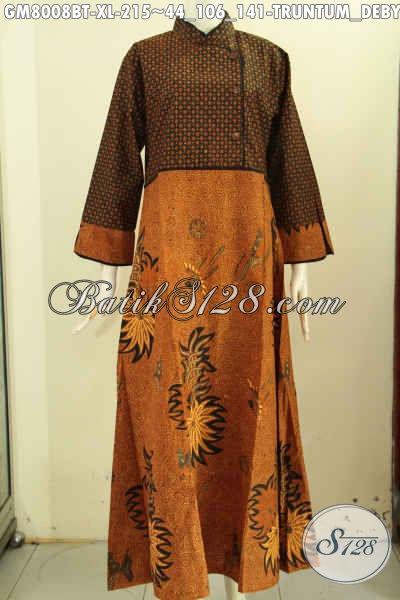 Model Baju Batik Solo Elegan, Gamis Batik ELegan Mewah Motif Truntum Debyah Ukel Dengan Krah Shanghai Dan Resleting Belakang, Penampilan Lebih Mempesona, Size XL