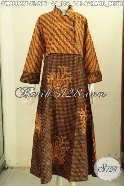 Model Baju Batik Wanita Berhijab Terkini, Gamis Batik Dual Motif Klasik Nan Berkelas, Bikin Penampilan Anggun Menawan, Size XL