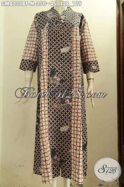 Model Baju Batik Wanita Terbaru, Abaya Batik Modis Halus Nan Istimewa, Gamis Batik Krah V Dengan 2 Kancing Depan, Penampilan Cantik Menawan [GM8233BT-M]