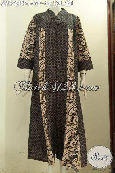 Model Baju Batik Gamis Terbaru, Hadir Dengan Desain Mewah Krah V Berpadu Kancing Depan Keren Serta Motif Klasik Elegan Proses Kombinasi Tulis, Di Jual Online 250K [GM8234BT-L]