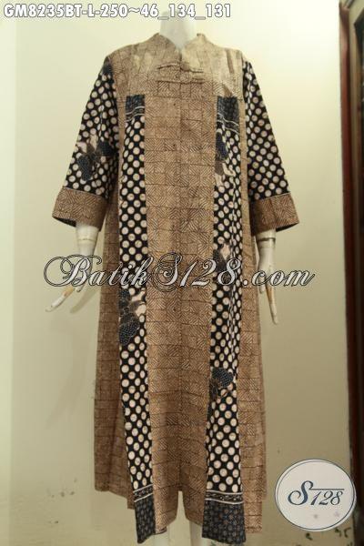 Model Baju Batik Gamis Motif Unik Bahan Halus Harga 250K, Hadir Dengan Desain Krah V Dan Kancing Depan, Tampil Anggun Mempesona, Size L