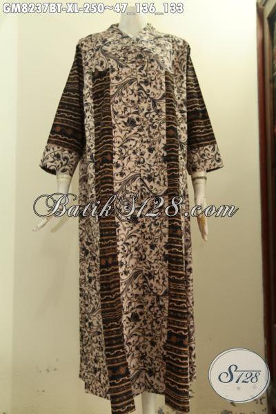 Sedia Gamis Batik Ukuran XL, Produk Gamis Batik Solo Jawa Tengah Desain Krah V Bahan Halus Trend Mode Terbaru Dengan Kancing Depan Hanya 200 Ribuan