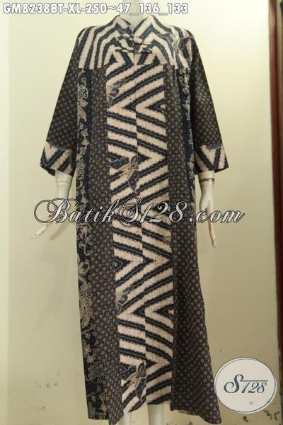 Model Baju Batik Wanita Berhijab Terkini, Gamis Batik Elegan Mewah Dengan Krah V  Di Lengkapi 2 Kancing Depan, Cocok Untuk Acara Resmi, Tampil Lebih Anggun [GM8238BT-XL]