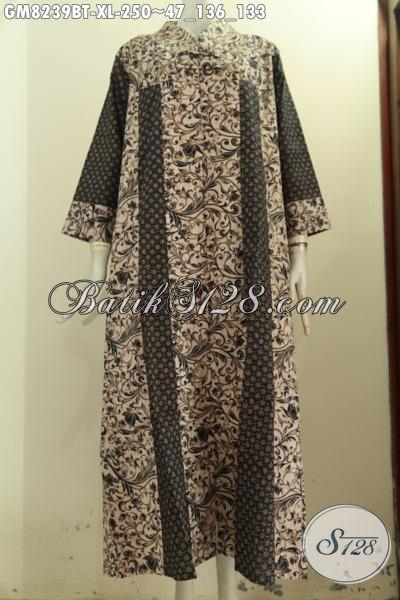 Model Baju Batik Gamis Solo Kwalitas Bagus Desain Mewah Krah V Kancing Depan, Bikin Penampilan Terlihat Anggun, Size XL