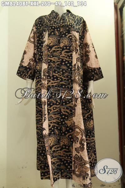 Model Baju Batik Muslim Wanita Terbaru, Gamis Batik Solo Nan Elegan Kwalitas Bagus Pakain Kancing Depan Dengan Krah V Motif Bagus Kombinasi Tulis Hanya 250K, Size XXL