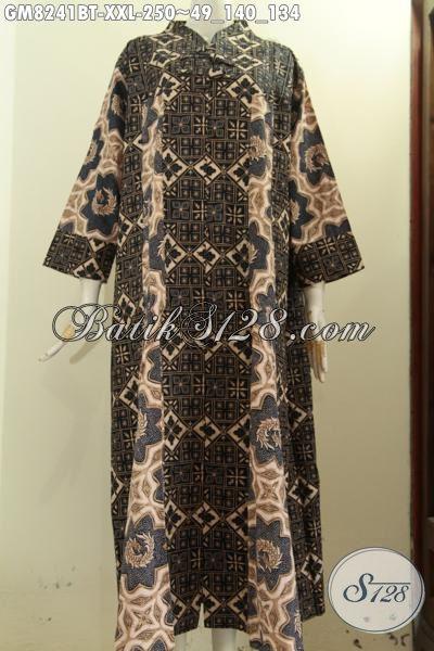 Model Baju Batik Muslim Jumbo, Busana Batik Gamis Wanita Gemuk Ukuran XXL Dengan Krah V Bahan Halus Pakai Kancing Depan Hanya 200 Ribuan