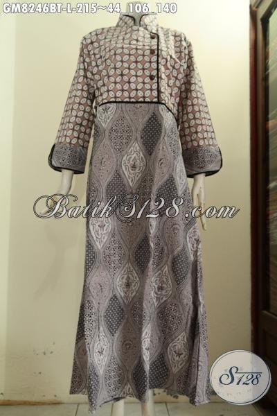 Pusat Pakaian Batik Solo Online, Sedia Model Gamis Batik Terbaru Dengan Plesir Polos Resleting Belakang Modis Dan Nyaman Di Pakai, Size L