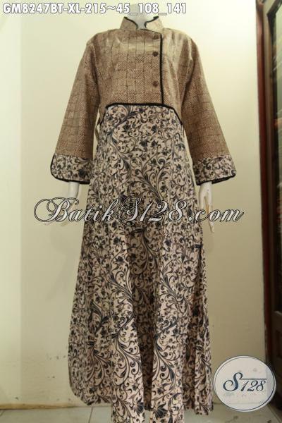 Model Baju Batik Gamis Wanita Dewasa, Pakaian Batik Kerja Dan Acaraq Resmi Wanita Berhijab Tampil Anggun Dan Cantik [GM8247BT-XL]