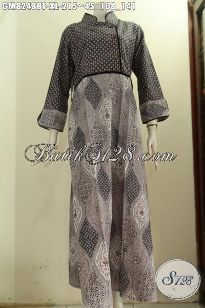 Jual Produk Gamis Batik Plisir Polos Pakaian Batik Wanita
