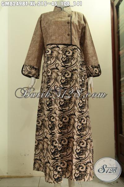 Model Baju Batik Elegan Wanita Berhijab Gamis Batik Solo Perempuan