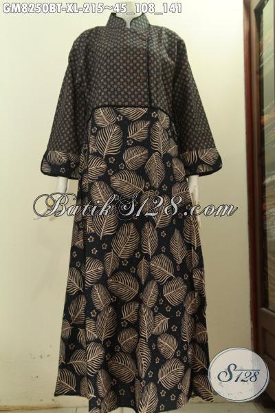 Model Baju Batik Gamis Wanita Size XL, Abaya Batik Desain Mewah Resleting Belakang Dengan Plisir Polos, Tampil Gaya Dan Anggun [GM8250BT-XL]
