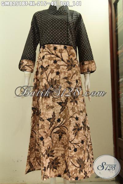 Model Baju Batik Gamis Istimewa Ukuran XL, Pakaian Batik Modis Berkelas Buatan Solo Desain Plisir Polos Resleting Belakang, Cocok Untuk Wanita Berhijab [GM8251BT-XL]