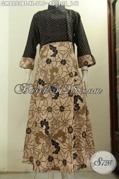 Model Baju Batik Gamis Terbaru, Busana Batik Long Dress Plisir Polos Dengan Resleting Belakang Motif Klasik Kombinasi Tulis Harga 215K [GM8253BT-XL]