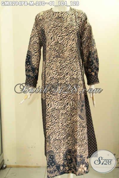 Produk Pakaian Batik Solo Terkini, Busana Batik Gamis Wanita Terbaru Dengan 2 Model A Bahan Adem Pake Kancing Depan Dan 2 Motif Ukuran M