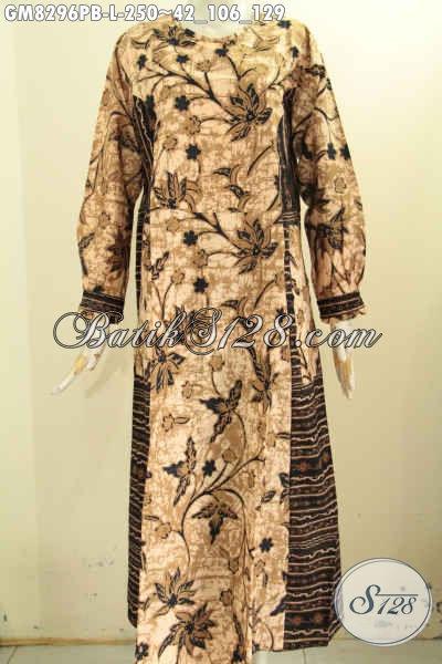 Pusat Baju Batik Online Solo, Jual Gamis Batik 2 Model A Dengan Kancing Depan Dan Dual Motif Proses Printing, Bisa Buat Santai Dan Resmi [GM8296PB-L]