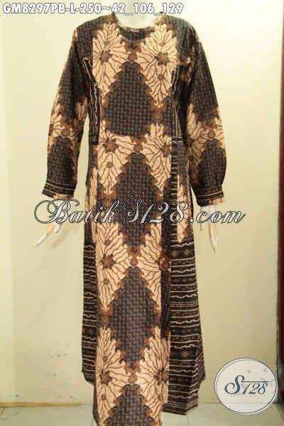 Juragan Baju Batik Online Sedia Gamis 2 Model A Dual Motif Kancing Depan Proses Printing Harga 250K, Size L