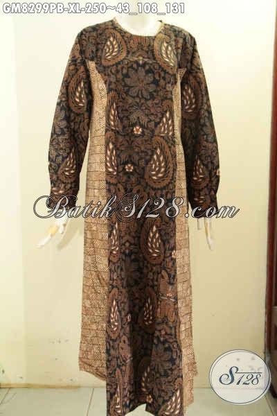 Jual Produk Pakaian Batik Solo Masa Kini, Busana Batik Gamis Modis Buat Kerja Dan Acara Resmi Dengan Kancing Depan Dan Dual Motif, Size XL