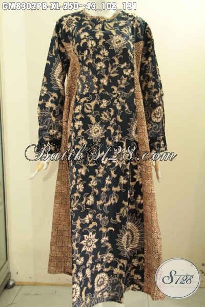 Jual Busana Batik Solo Gamis Wanita Size XL, Pakaian Batik Dengan 2 Model A Dan Dual Motif, Cocok Untuk Acara Resmi