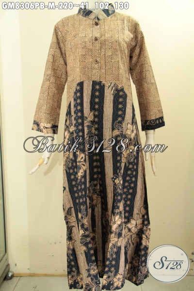 Model Baju Batik Gamis Istimewa Dengan Kombinasi 2 Motif Proses Printing, Busana Batik Wanita Muda Kancing Depan Tren Masa Kini, Penampilan Anggun Dan Gaya [GM8306PB-M]