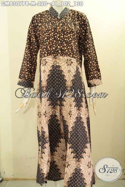 Gamis Batik Elegan Mewah Dual Motif, Produk Baju Batik Syar'i 2 Model A Pakai Kancing Depan, Pas Untuk Acara Resmi, Size M