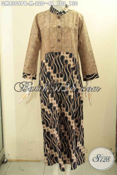 Sedia Pakaian Batik Kerja Wanita Berhijab, Gamis Batik Krah Shanghai Halus Dual Motif Printing Cabut Di Lengkapi Kancing Depan, Tampil Cantik Menawan [GM8309PB-M]