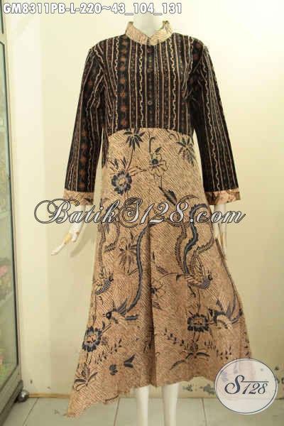 Produk Batik Gamis 2 Model A, Busana Batik Elegan Untuk Wanita Berhijab Dengan Dual Motif Dan Kancing Depan Harga 220K, Size L