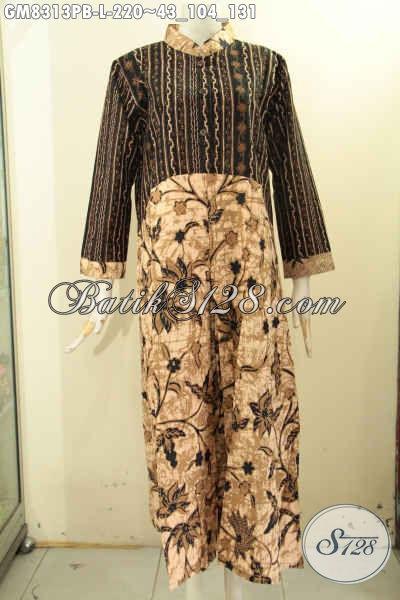 Toko Baju Batik Gamis Online, Sedia Dengan 2 Model A Kancing Depan Serta Kombinasi 2 Motif Proses Printing Hanya 220K, Size L