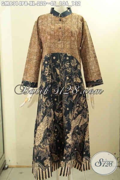 Model Baju Batik Gamis Dual Motif, Busana Batik Elegan Mewah Proses Printing Di Lengkapi Kancing Depan, Cocok Buat Kerja Dan Kondangan [GM8314PB-XL]