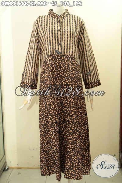 Model Baju Batik Gamis 2 Motif Yang Bikin Wanita Terlihat Anggun Dan Elegan, Busana Batik Muslim Wanita 2018 Kancing Depan Dengan Krah Shanghai Hanya 200 Ribuan [GM8316PB-XL]