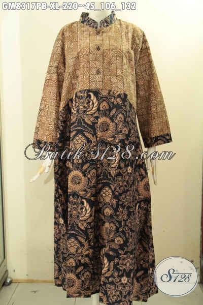 Produk Gamis Batik Solo Istimewa Jawa Tengah, Pakaian Batik Wanita Dewasa Ukuran XL Dual Motif Dengan Kancing Depan Hanya 220 Ribu [GM8317PB-XL]