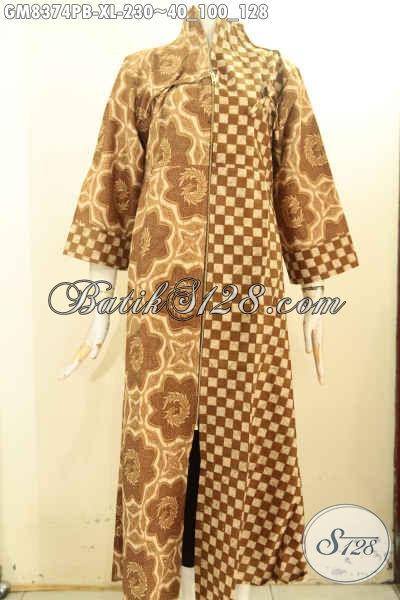 Gamis Batik Model Resleting Depan, Busana Batik Elegan Dan Mewah Untuk Wanita Berhijab Tampil Anggun Mempesona, Size XL
