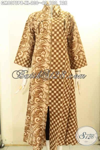 Gamis Batik Halus Nan Berkelas, Pakaian Batik Long Dress Batik Resleting Depan Motif Elegan Klasik Bahan Ade, Di Jual Online 230K, Size XL