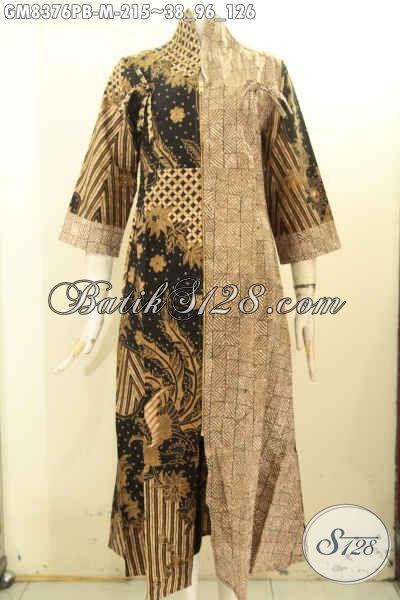 Model Baju Batik Gamis Dengan Resleting Depan, Pakaian Batik Solo Panjang Bahan Halus Untuk Wanita Muda Motif Bagus Proses Printing Cabut Hanya 215K, Size M