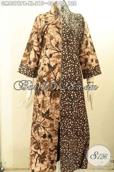 Pakaian Batik Solo Elegan Nan Modis, Produk Baju Batik Gamis Mewah Motif Kombinasi Proses Printing Cabut, Cocok Untuk Acara Resmi Harga 215 Ribu, Size XL