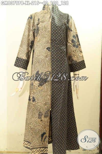 Model Baju Gamis Batik Solo Kekinian, Hadir Dengan Desain Mewah Pakai Resleting Depan Motif Kombinasi Dengan Sentuhan Klasik, Penampilan Terlihat Anggun, Size XL