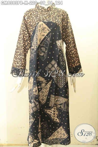 Model Gamis Batik Wanita Muda, Pakaian Batik Elegan Dual Warna Dengan Resleting Belakang Bahan Halus Nyaman Di Pakai, Abaya Batik Krah Shanghai Tampil Gaya Dan Mewah Hanya 200 Ribuan [GM8383PB-M]