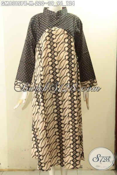 Batik Gamis Dua Warna Dengan Krah Shanghai, Busana Batik Wanita Muslimah Pakai Resleting Belakang Desain Mewah Bikin Penampilan Anggun Mempesona, Size M