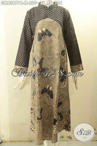 Sedia Gamis Batik Dua Warna, Busana Batik Elegan Mewah Krah Shanghai Resleting Belakang Motif Klasik Printing, Cocok Banget Untuk Acara Formal, Size M