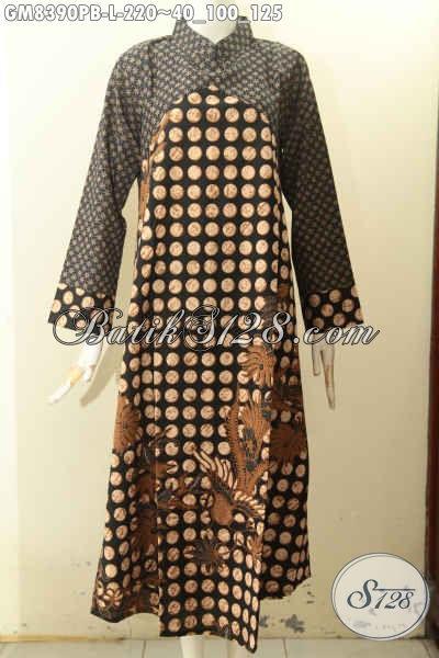 Model Baju Batik Gamis Modern Motif Klasik Dengan Kombinasi 2 Warna, Pakaian Batik Solo Elegan Krah Shanghai Resleting Belakang, Tampil Gaya Dan Berkelas, Size L