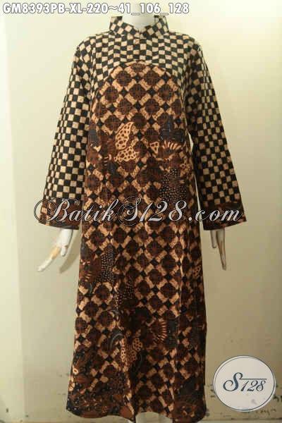 Model Baju Batik Gamis Solo, Pakaian Batik Krah Shanghai Elegan Dengan 2 Warna Motif Klasik Resleting Belakang, Cocok Banget Untuk Acara Resmi, Size XL
