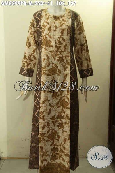 Sedia Gamis Batik Size M, Abaya Batik Wanita Muda Motif Elegan Klasik Proses Printing Cabut Dengan Variasi 2 Warna, Penampilan Anggun Mempesona