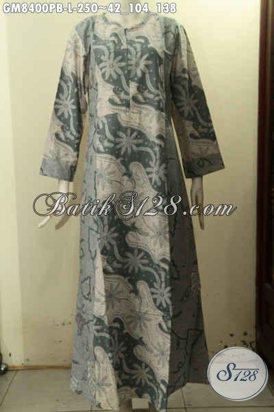 Baju Batik Syar'i Wanita Berhijab, Gamis Batik Halus Elegan Variasi 2 Warna Bahan Halus Di Lengkapi Resleting Depan, Cocok Buat Ngantor, Size L